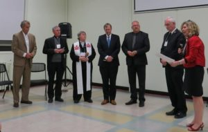 The induction of the CCC executive for the new triennium. L-R: Larry Brennan, treasurer; Bishop Ron Fabbro, Vice President;  the Rev. Canon Alyson Barnett-Cowan, President; the Rev. Stephen Kendall, Vice President; the Rev. Willard Metzger, Vice President.