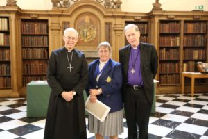 The Reverend Canon Alyson Barnett-Cowan, past president of the CCC, with the Archbishop of Canterbury, Archbishop Marcus Welby, and Archbishop Fred Hiltz, Primate of the Anglican Church in Canada.