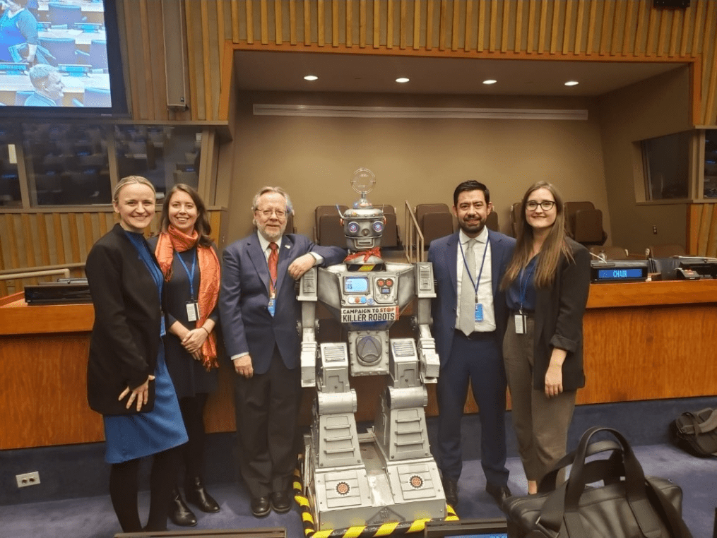 Senior Researcher Branka Marijan, Executive Director Cesar Jaramillo, and colleagues from Mines Action Canada and the Campaign to Stop Killer Robots at event on efforts to prevent fully autonomous weapons systems (United Nations, New York. October 2019)