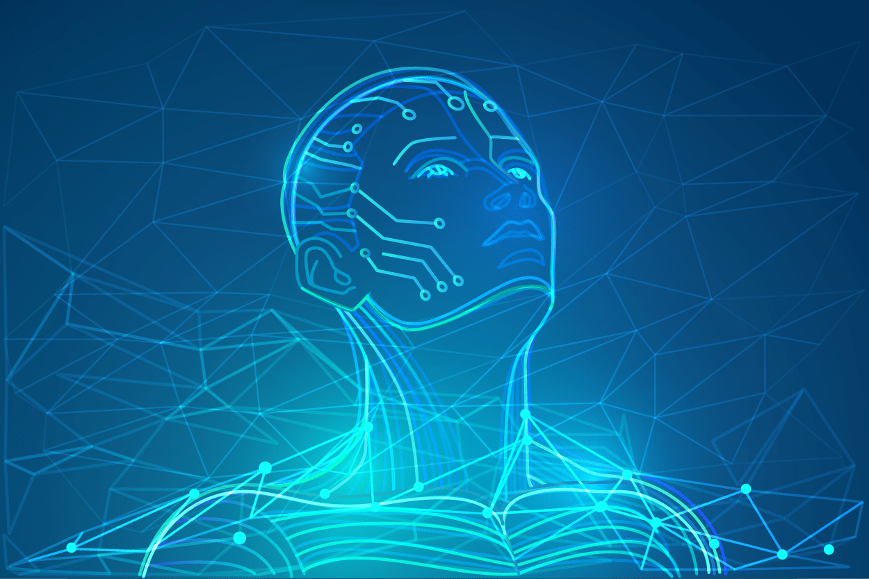 Graphic of robotic human face imposed over blue background