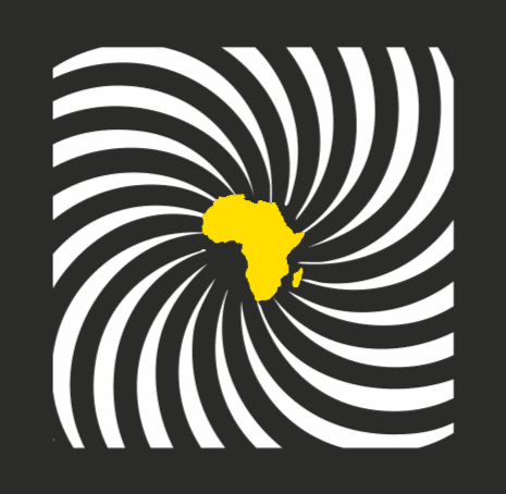 IDPAD logo featuring the continent of Africa in the center in yellow, with white and black rays around it