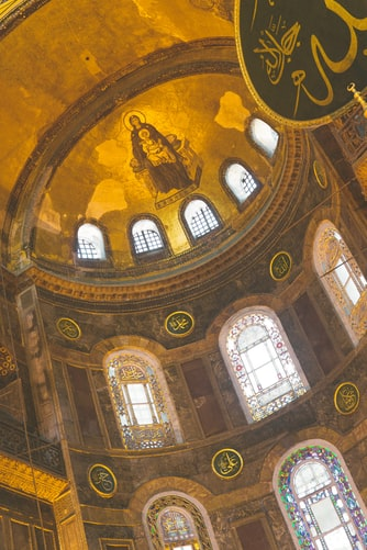 Apse of the Hagia Sophia cathedral, featuring a mosaic icon of the Theotokos and Christ.
